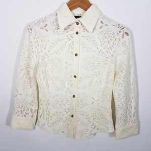 Versace Jeans Cream Lace Button Front Top Small